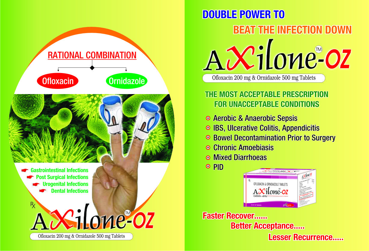 Ofloxacin 200mg & Ornidazole 500mg Tablets.