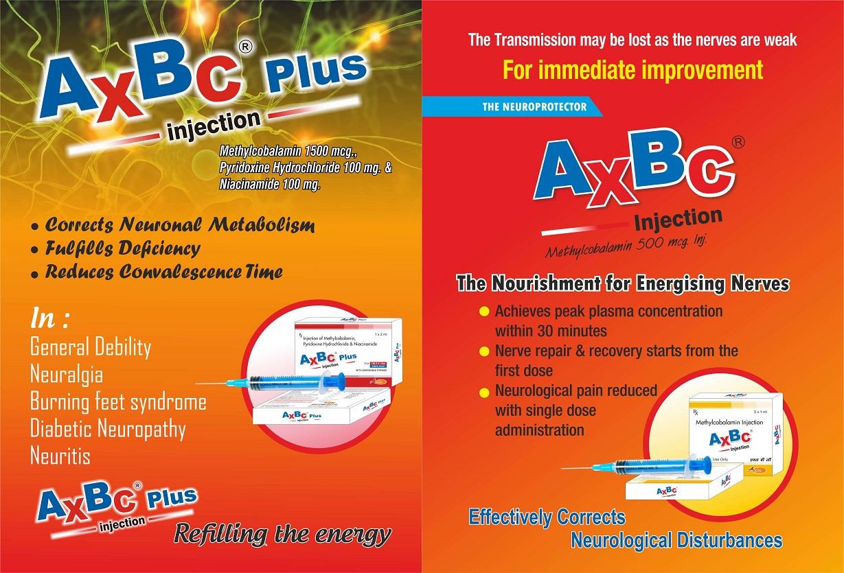 AXBC Injection (Methylcobalamin 500 mcg.) & AXBC PLUS Injection (Methylcobalamin 1500mcg, Pyridoxine Hydrochloride 100 mg & Niacinamide 100 mg.)